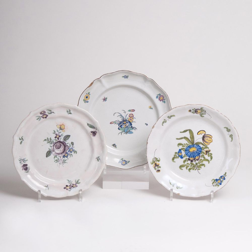 Three Faience Plates with Flower Painting