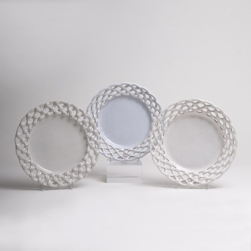 Three Faience Plates with Latticework