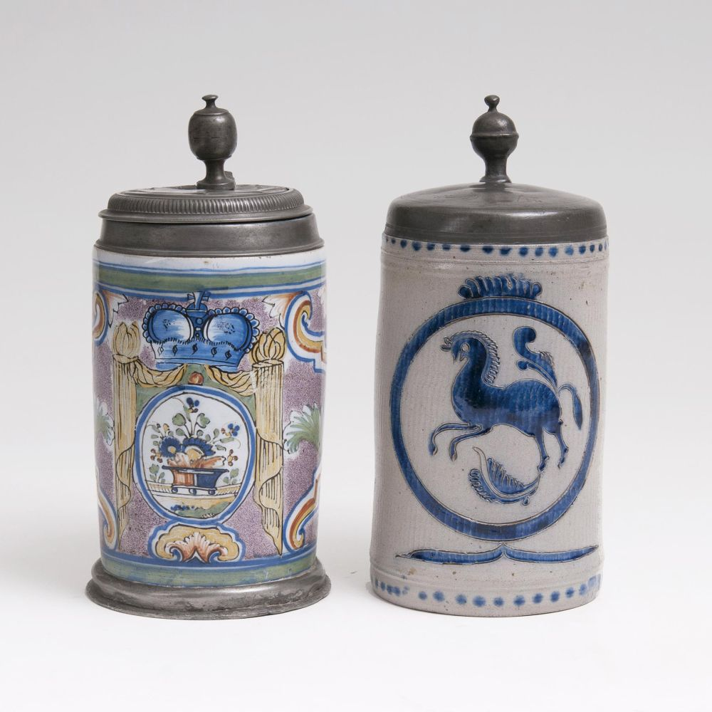 Two Tankards with Pewter Mount