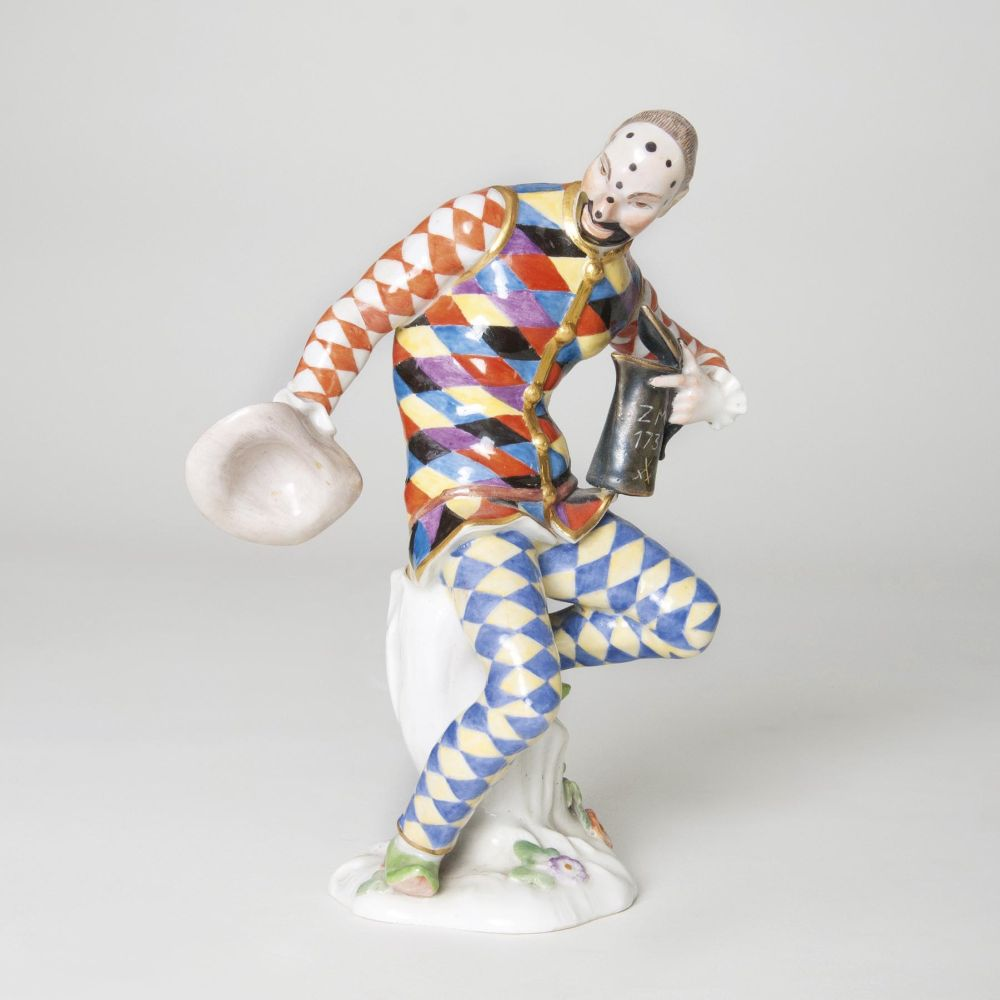 A Figure 'Harlequin with a Lidded Jug'