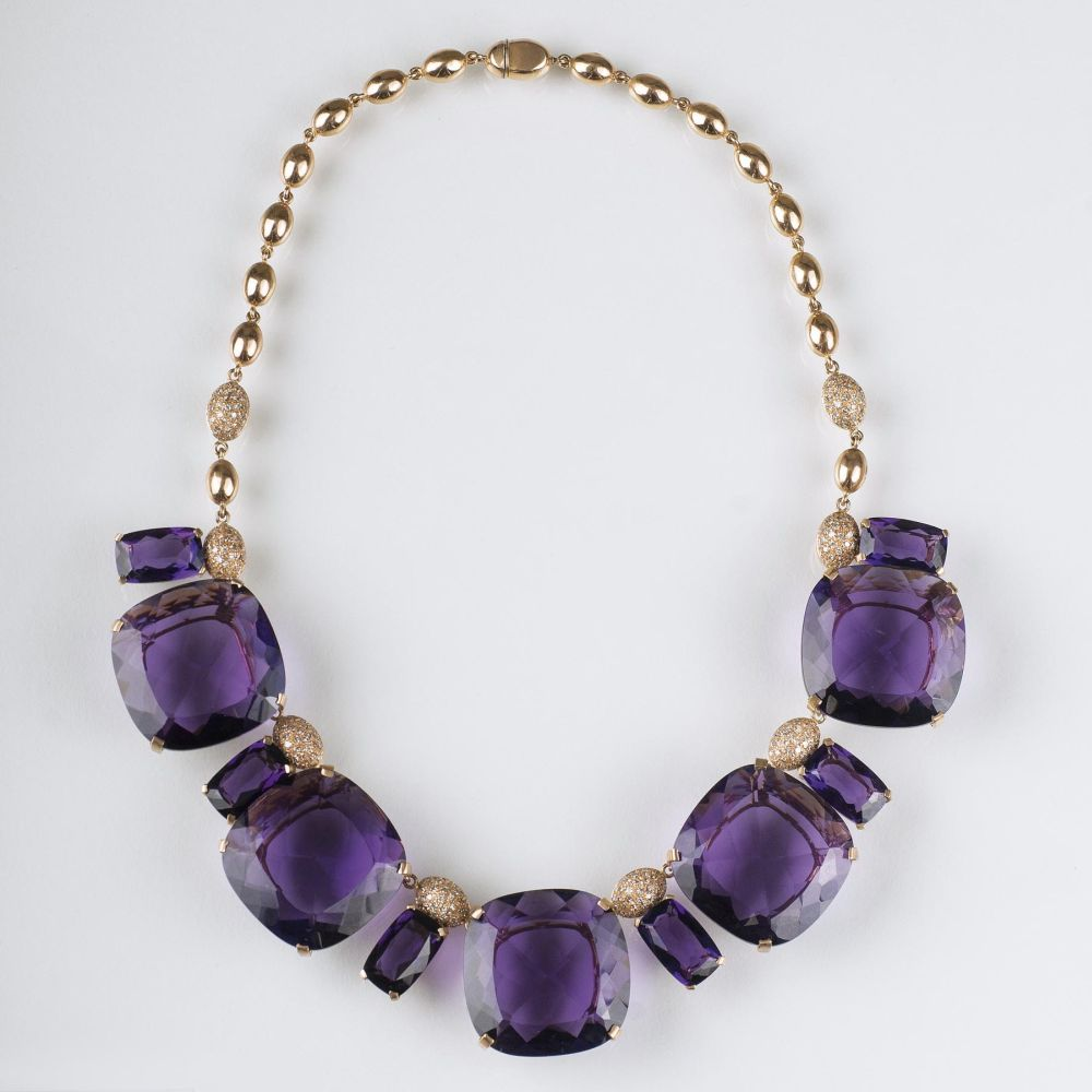 A Vintage Amethyst Diamond Necklace