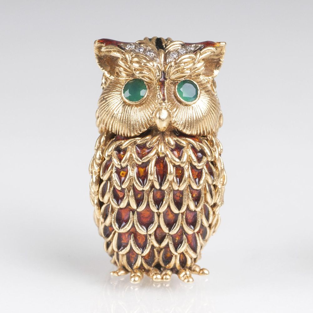 A Miniature gold box 'Owl' with Gemstones and Enamel