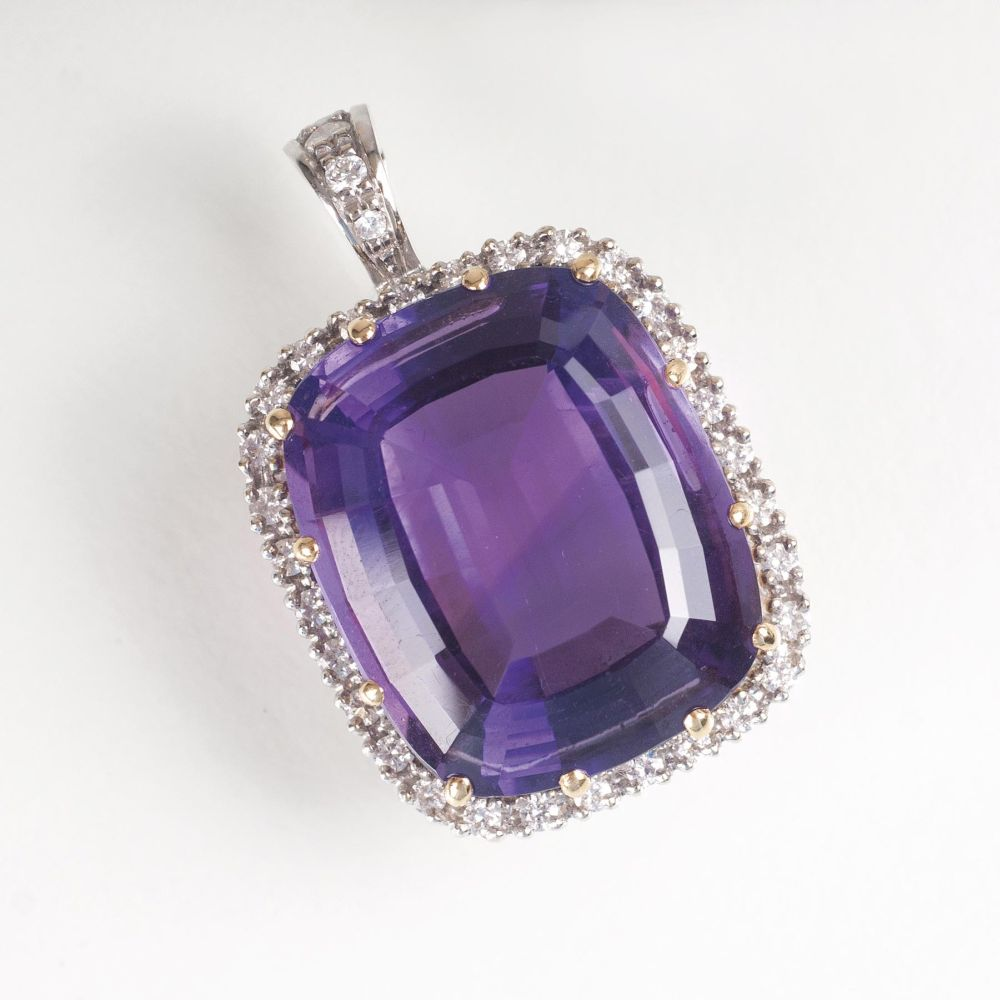 A large Amethyst Diamond Pendant