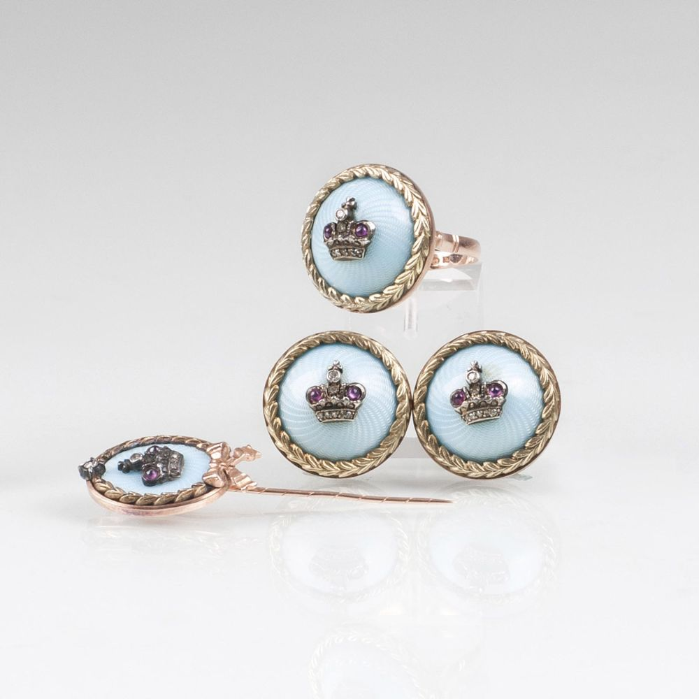 A Fabergè Enamel Jewelry Set with Earrings, Ring and Needle