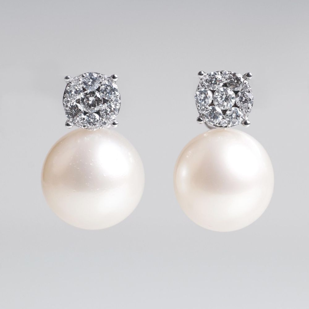 A Pair of Southsea Pearl Earstuds with Diamonds