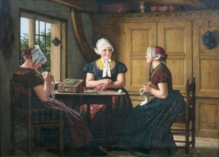 Frisian Girls doing Needlework