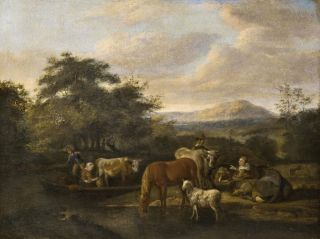 Herdsmen with their Animals by a River