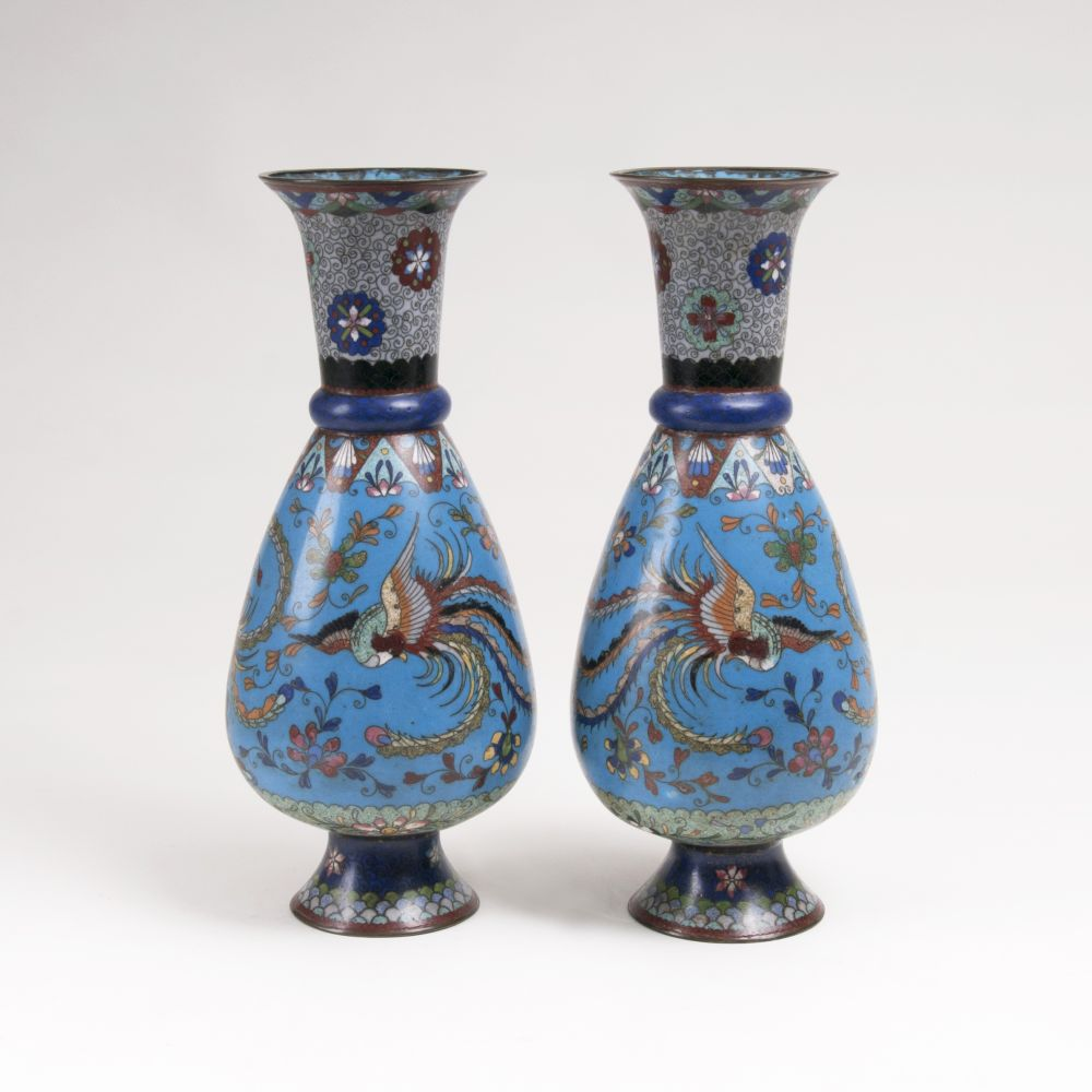 A Pair of Cloisonné Vases with Phenix-Decor