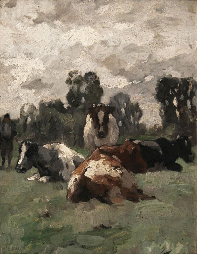 Farmer with four Cows