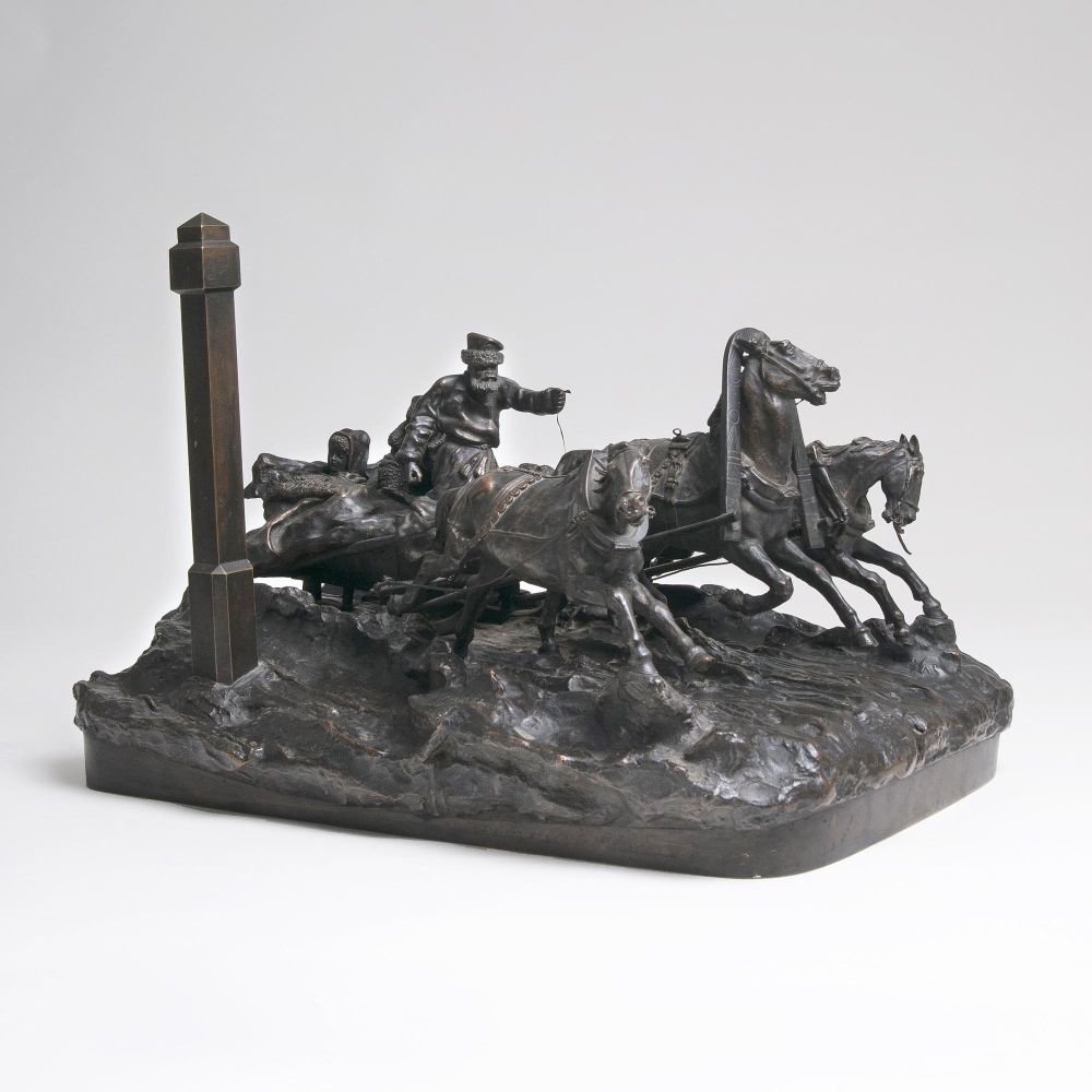 A Large Bronze Group 'Troika Passing a Mile Post'