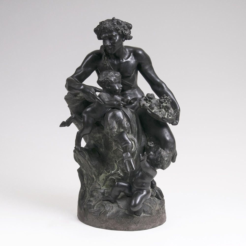 A Large Figure  Group 'Faun with Children' after Clodion