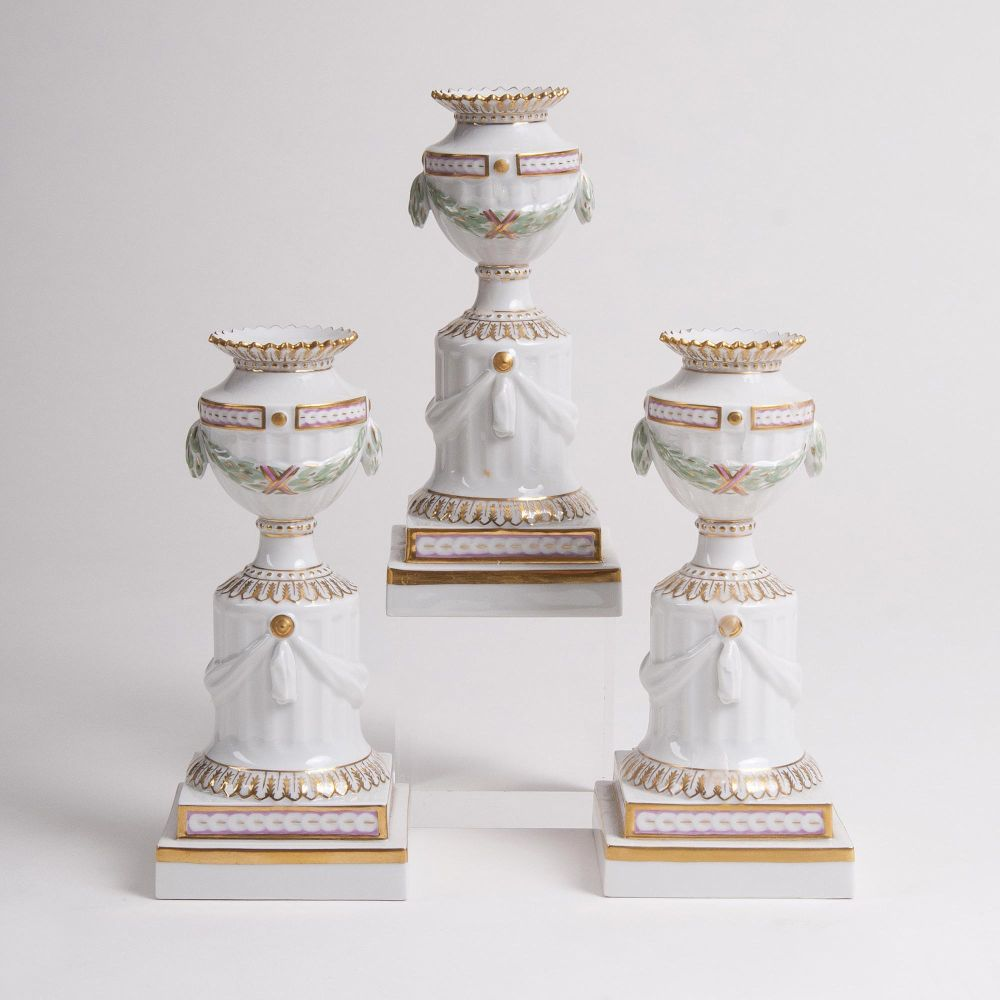 A Set of 3 'Flora Danica' Candlesticks