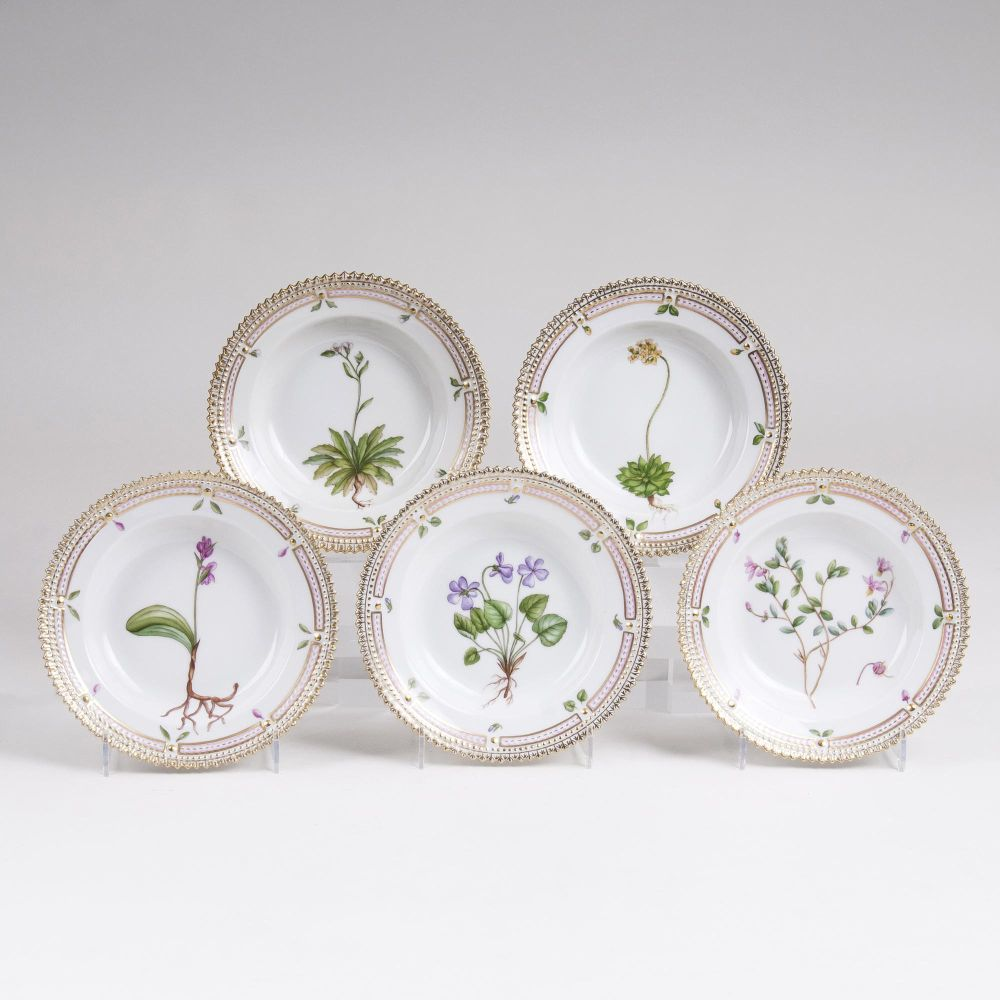 A Set of 5 'Flora Danica' Side Dishes