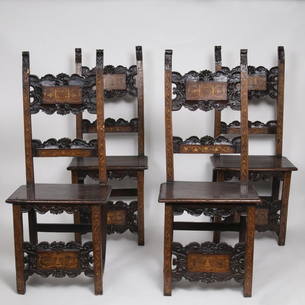 A Set of 4 Renaissance Chairs with a Floral Decor