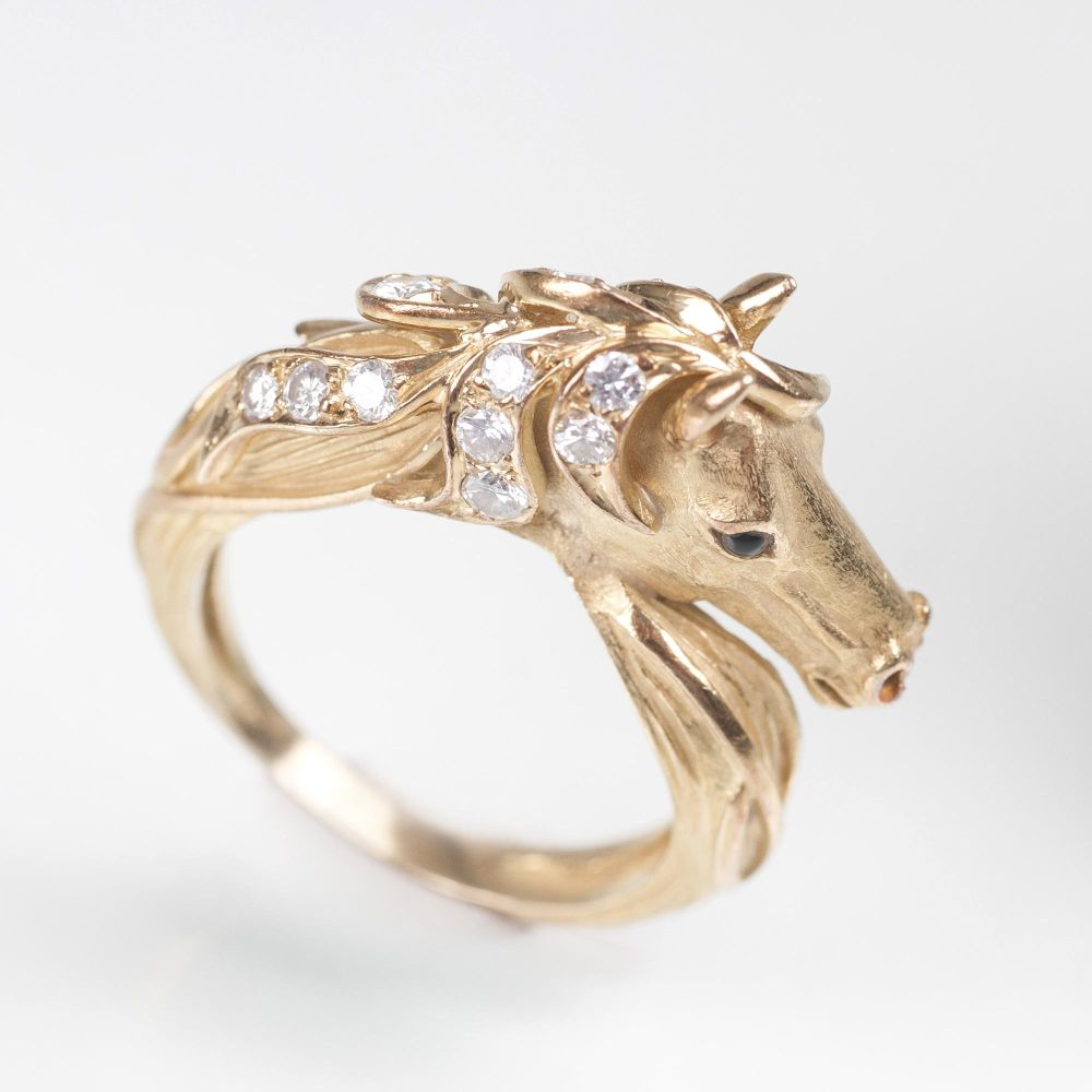A french Diamond Ring 'Horse'