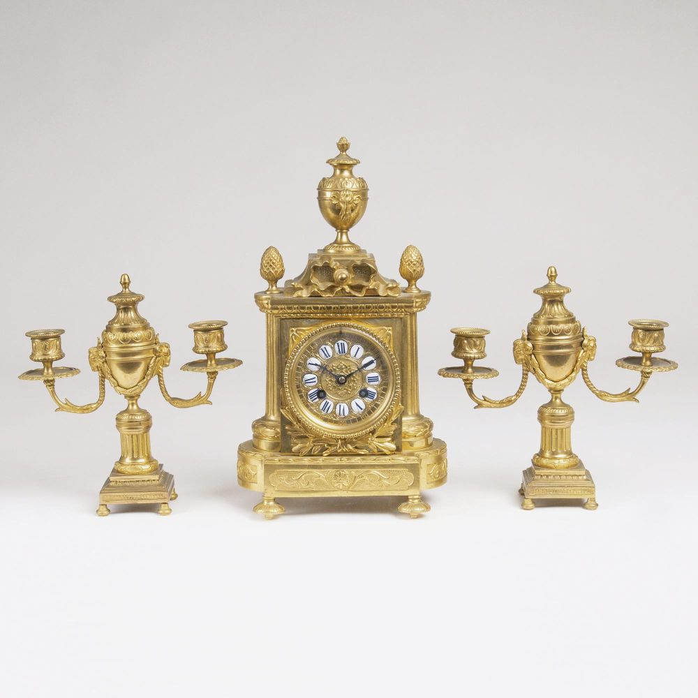 A Napoleon III Fire Place Set: Pendule and a Pair of Candelabra