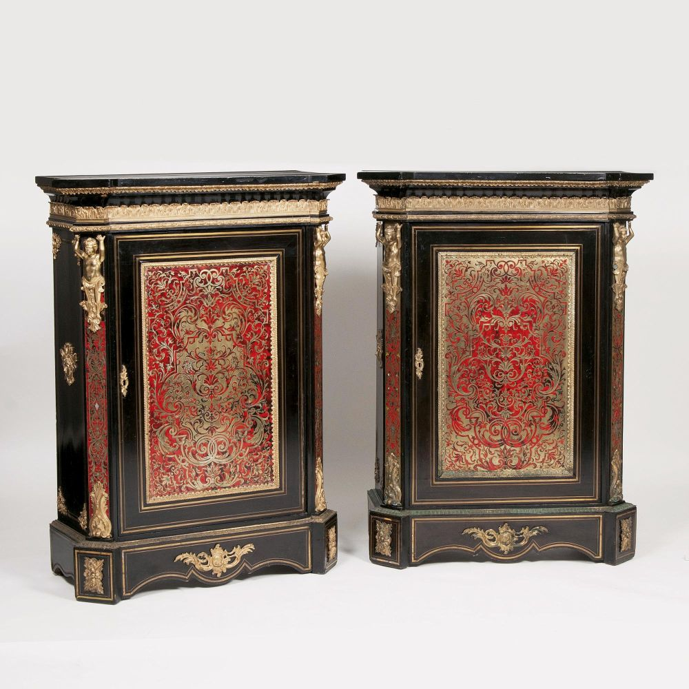 A Rare Pair of Napoleon III Boulle-Cabinets