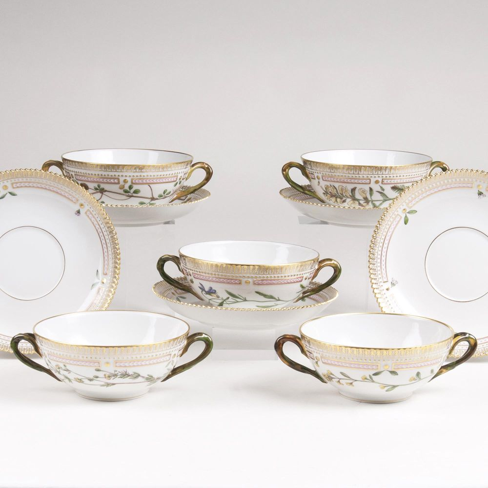 A Set of 5 'Flora Danica'  Soup Cups