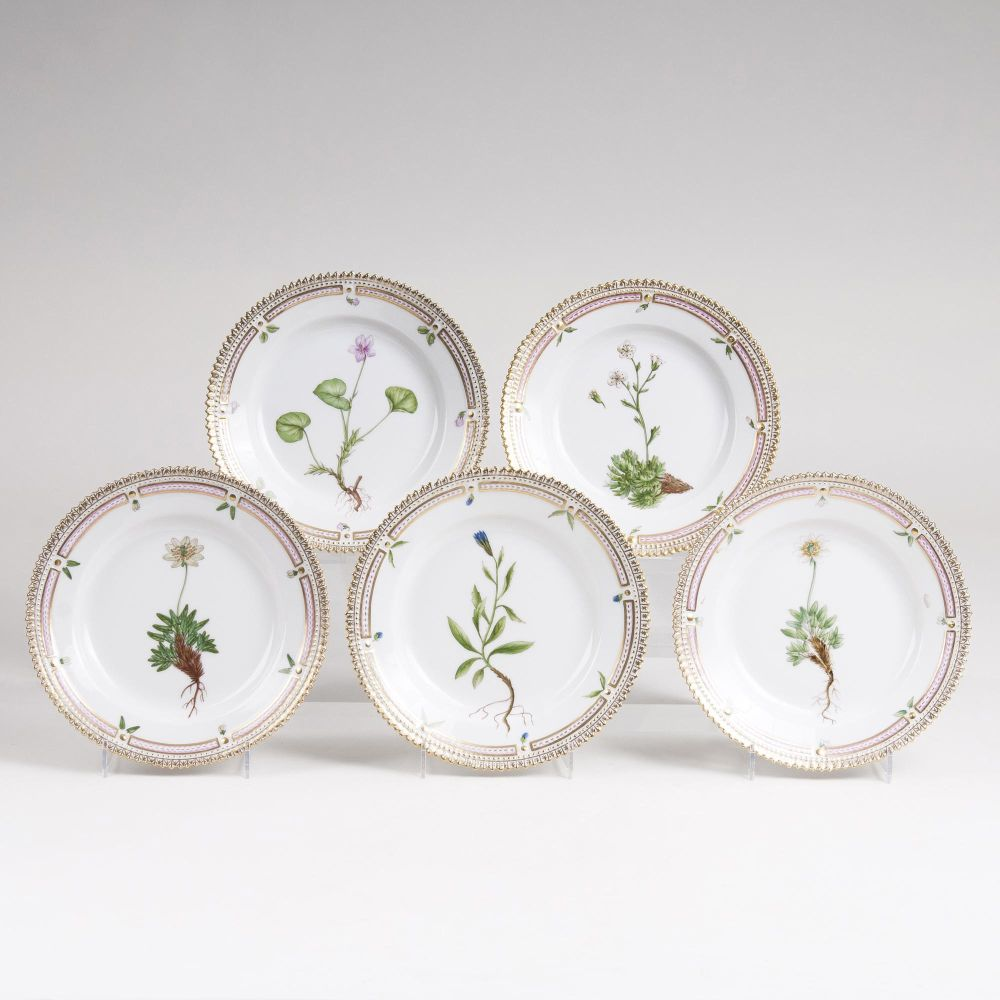 A Set of 5 'Flora Danica' Bread Plates