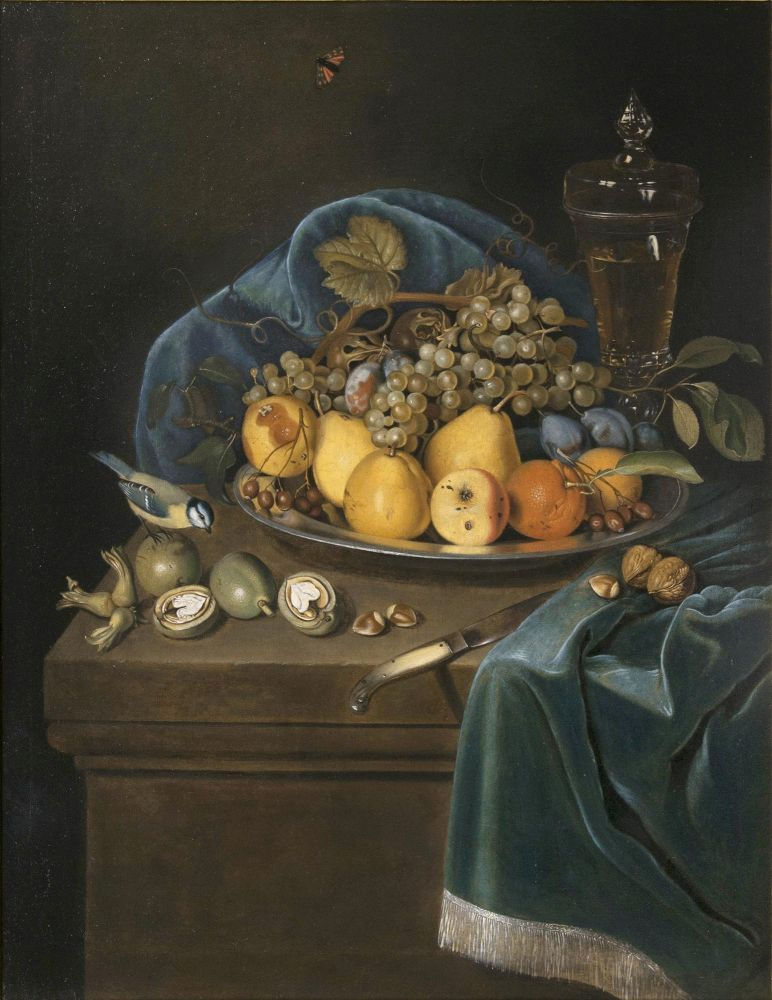 Still Life with Fruits, a Goblet and a Blue Tit on a Pedestal