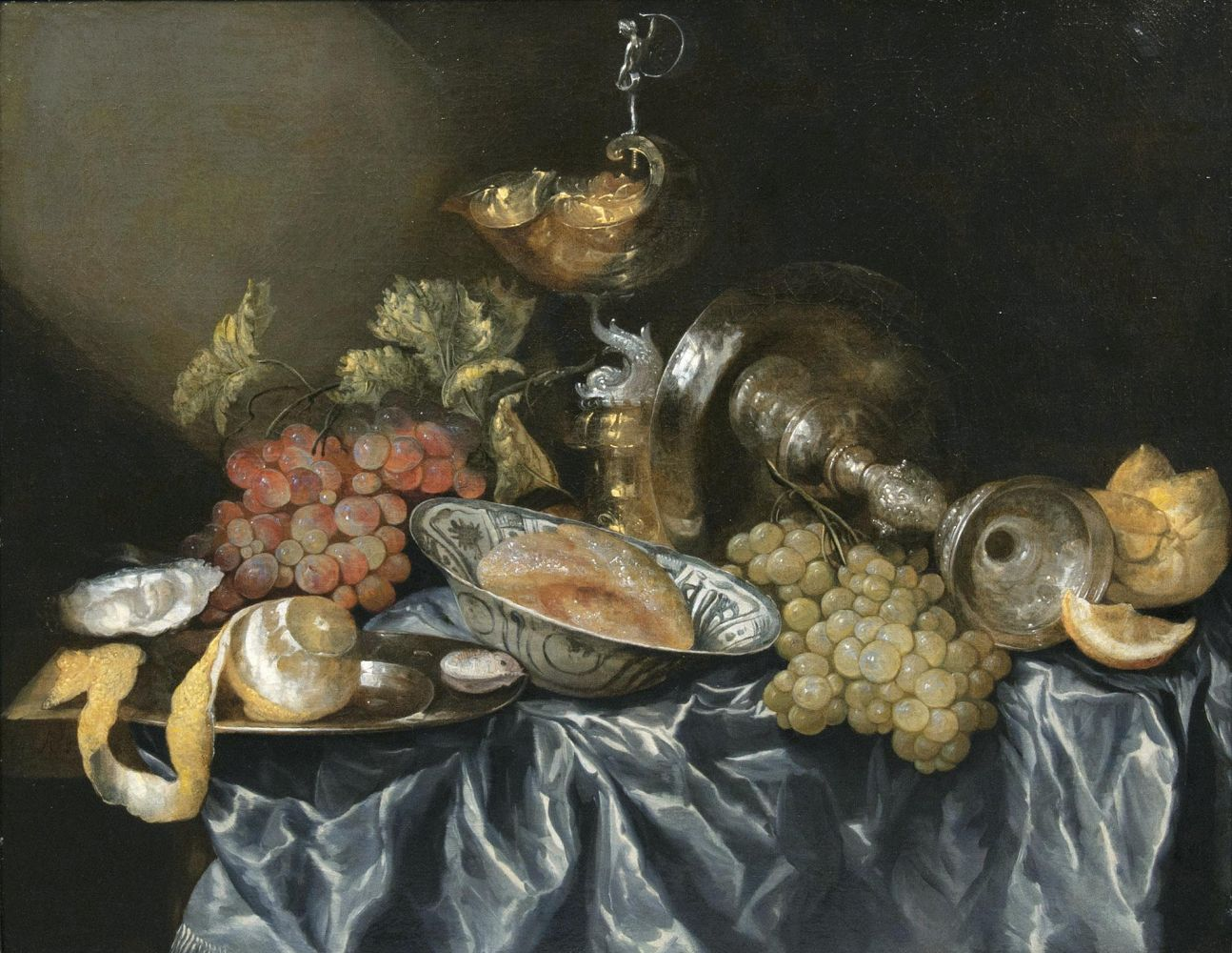 Table Still Life with Silver Ware and Wanli Bowl