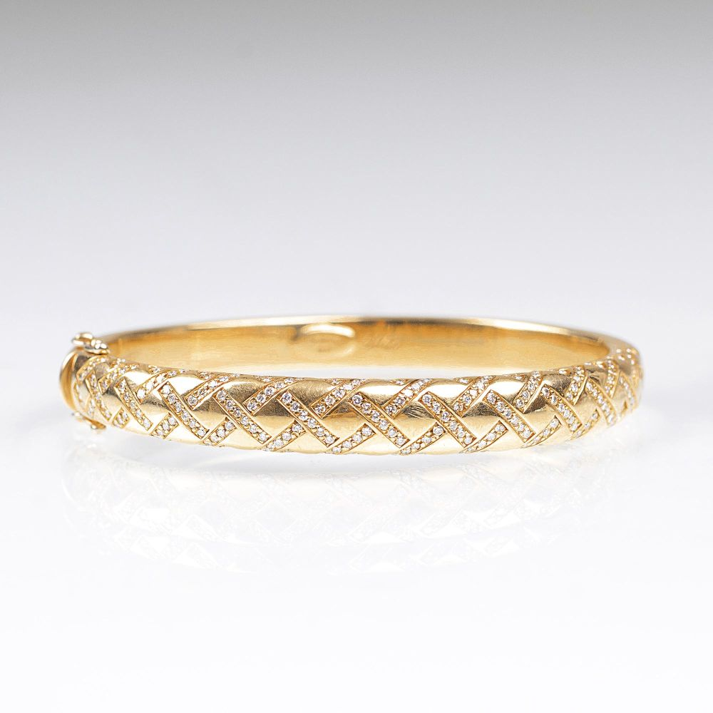 A Gold Bangle Bracelet with Diamonds by Wempe