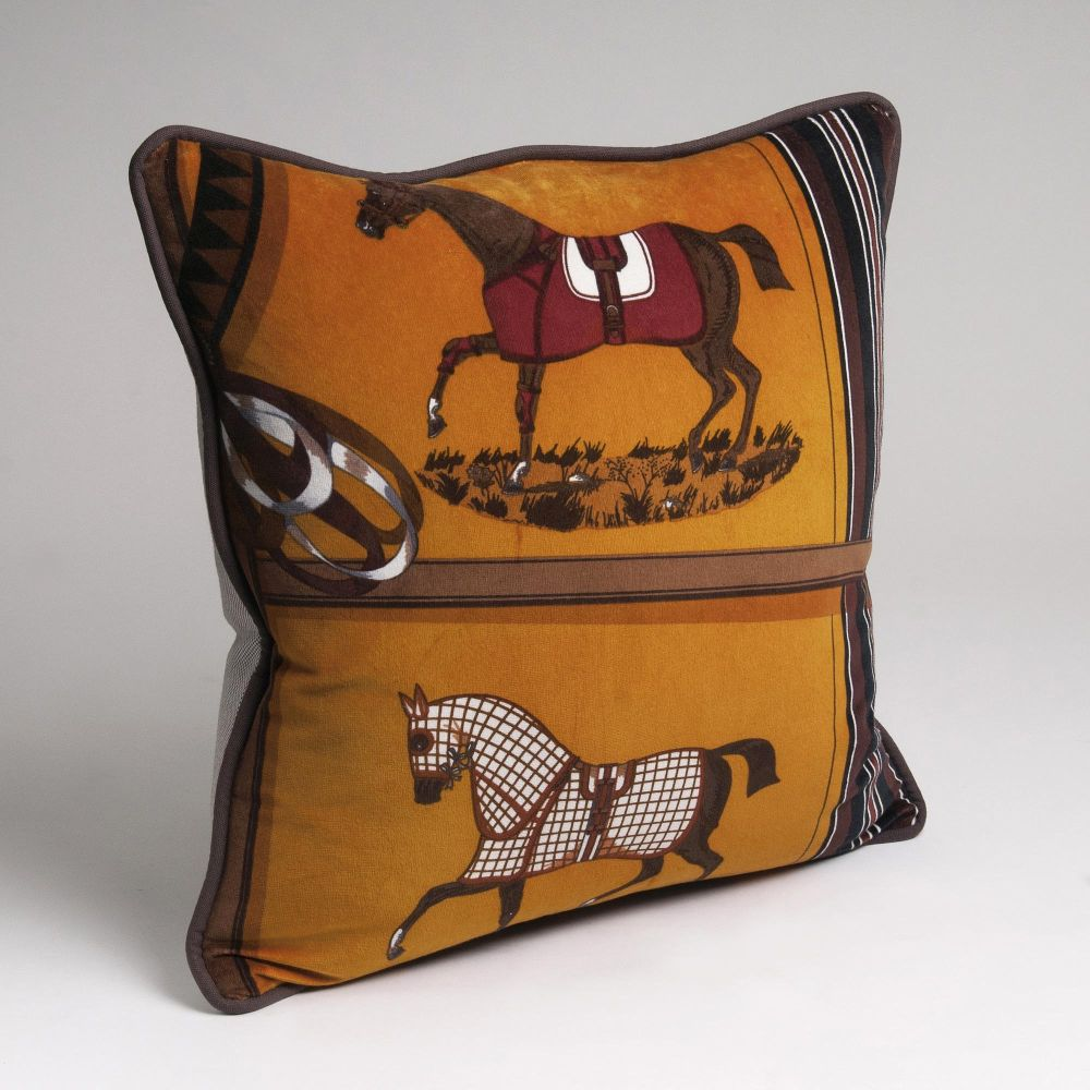 A Selected Hermès Pillow with Horses