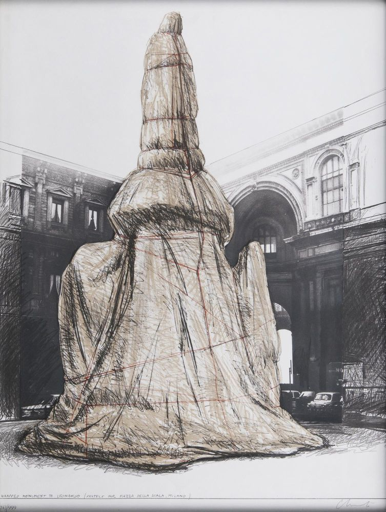 Wrapped Monument to Leonardo (Project for piazza della scala, Milano)