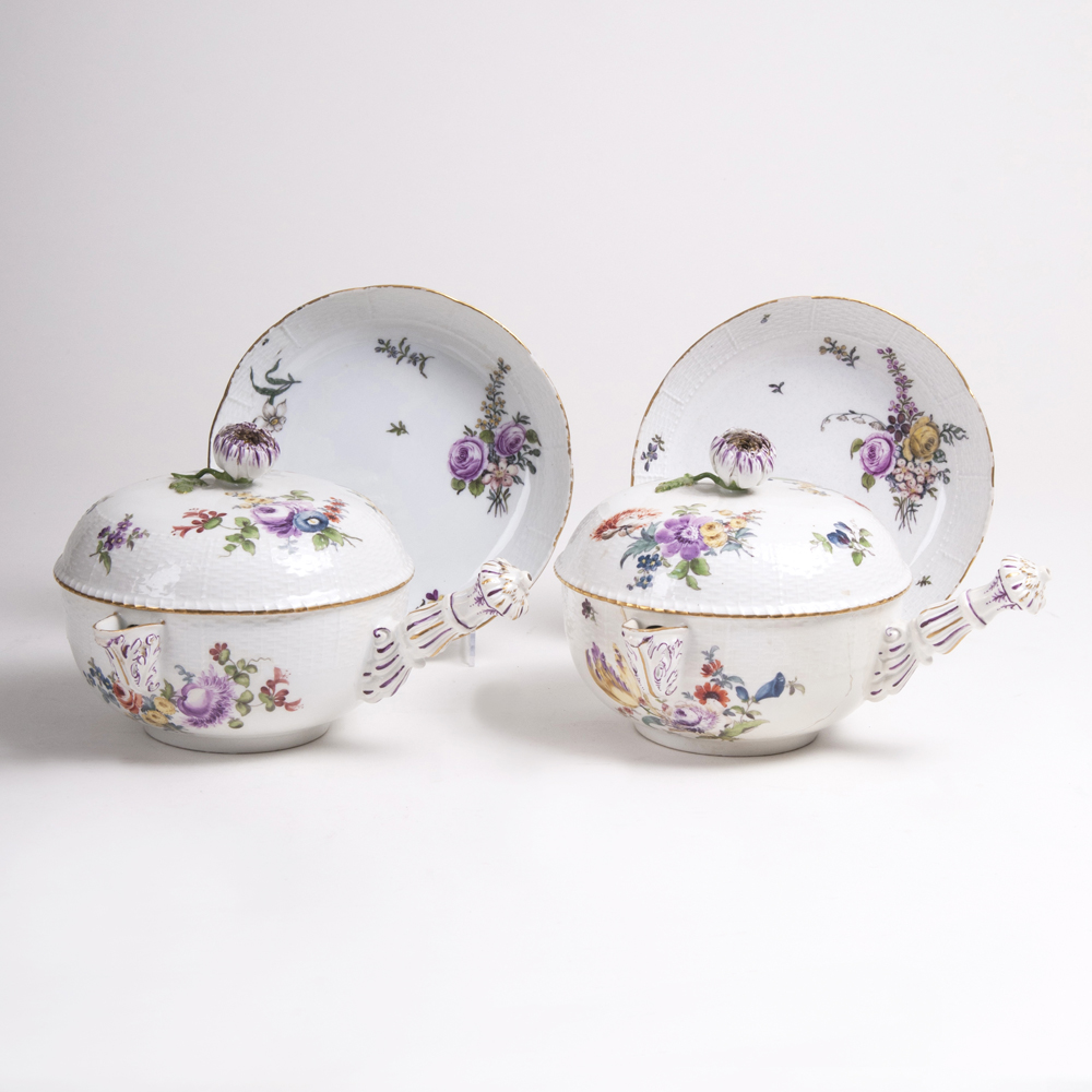 A Pair of Casseroles 'Flowers with Ozier Relief'