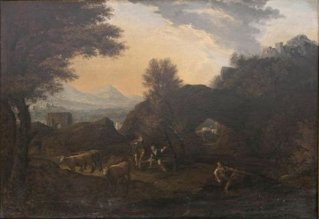 Southern Landscape with Herdsmen by the Water