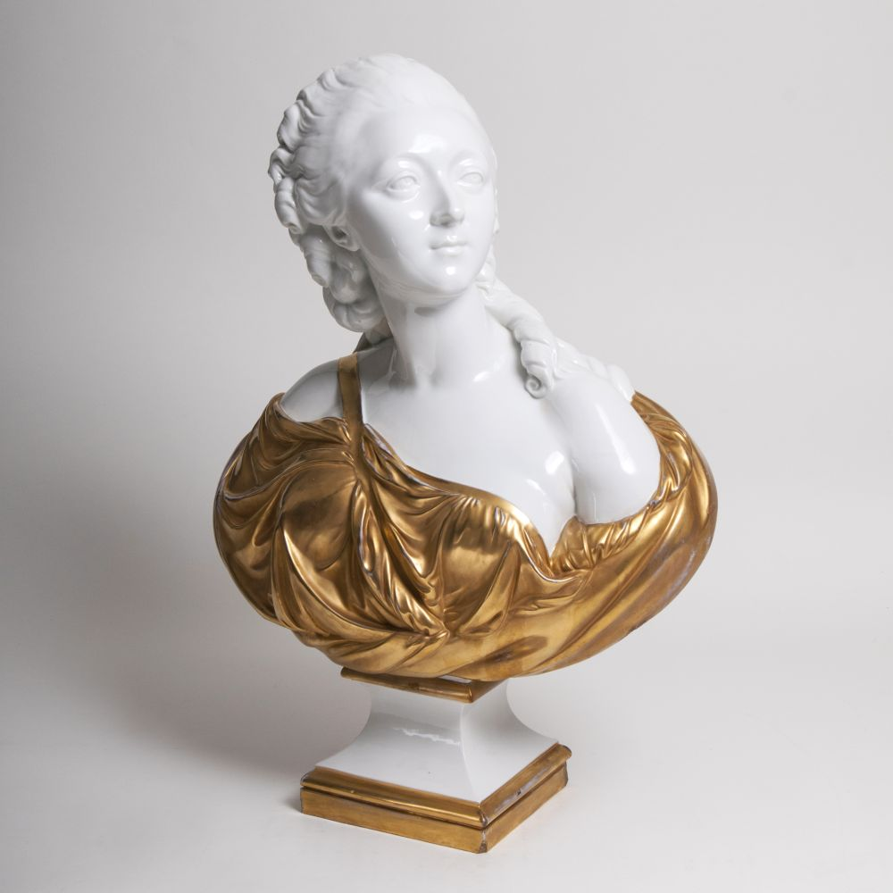 A tall bust of Madame du Barry