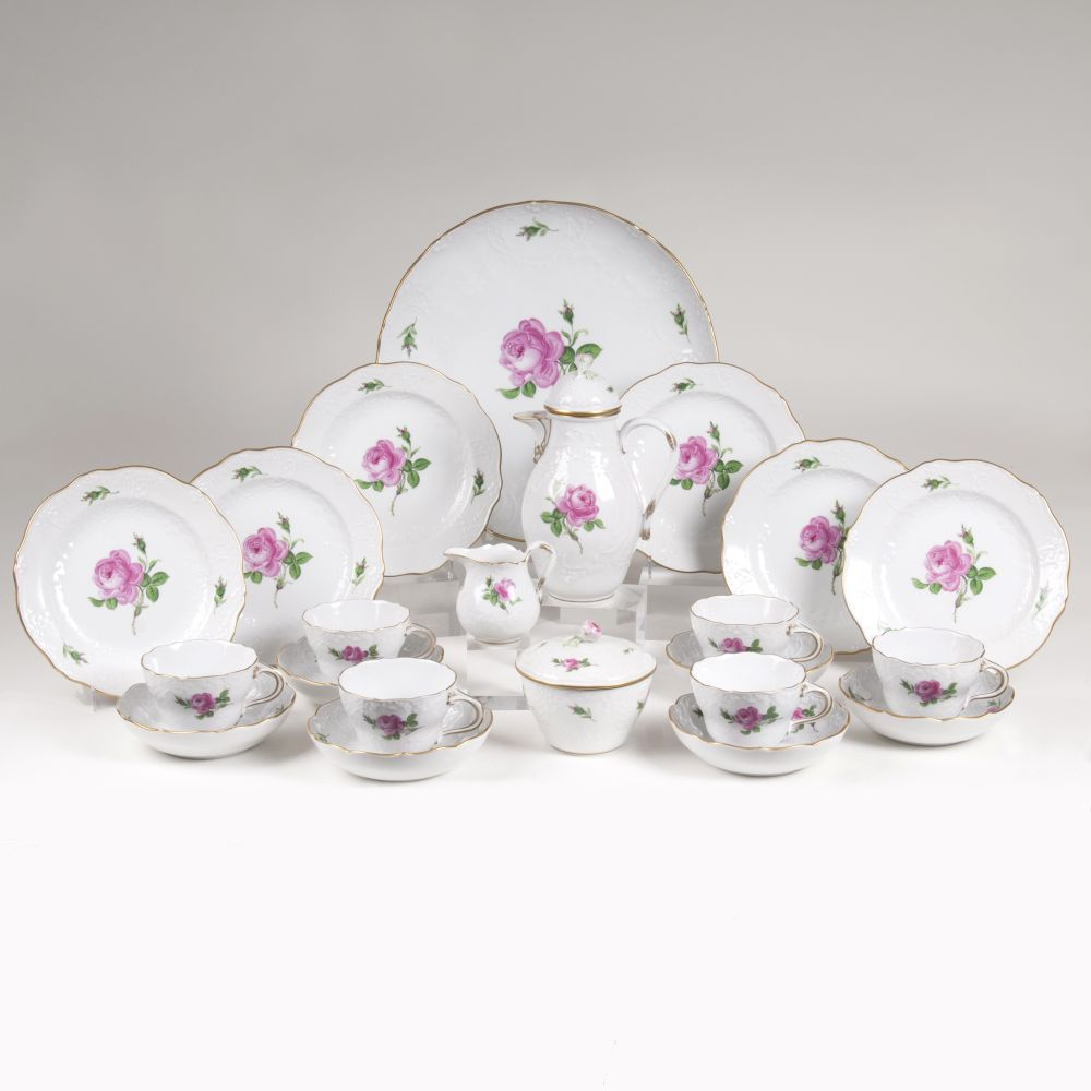 A Coffee Service 'Meissen Rose' for 6 Persons