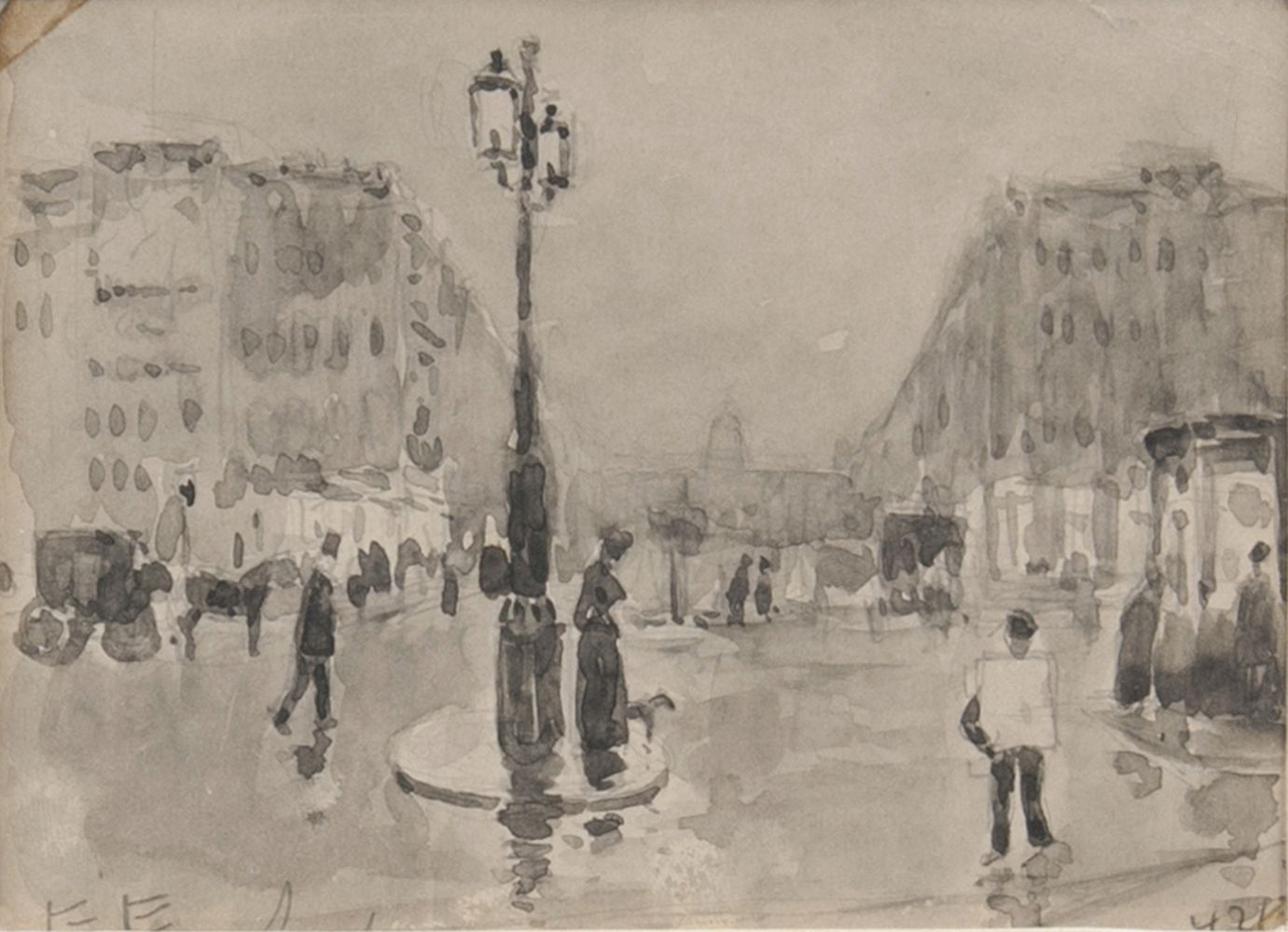 Boulevard in Antwerp and four Etchings