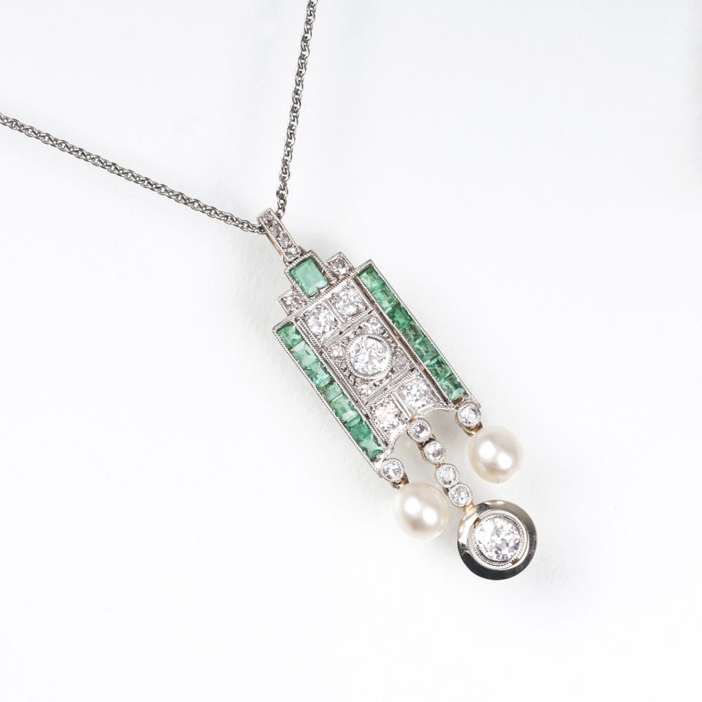 An Art-déco Diamond Emerald Pendant with small pearls
