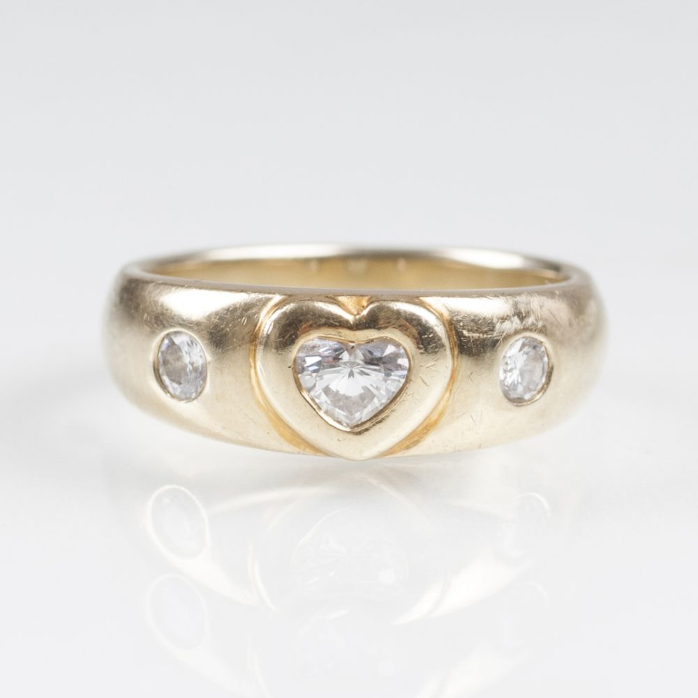 A Gold Ring with Heart Cut Diamond