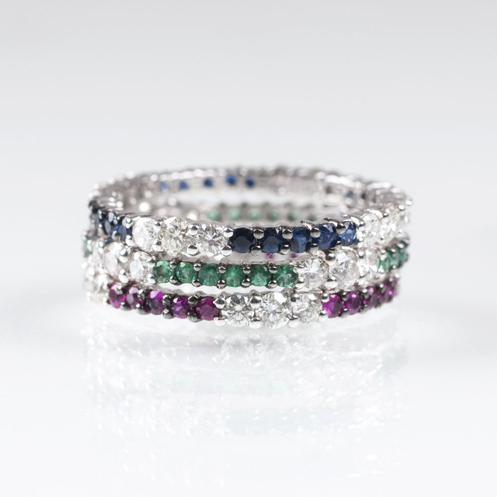 A Set of 3 Memory Rings with Rubies, Sapphires, Emeralds and Diamonds
