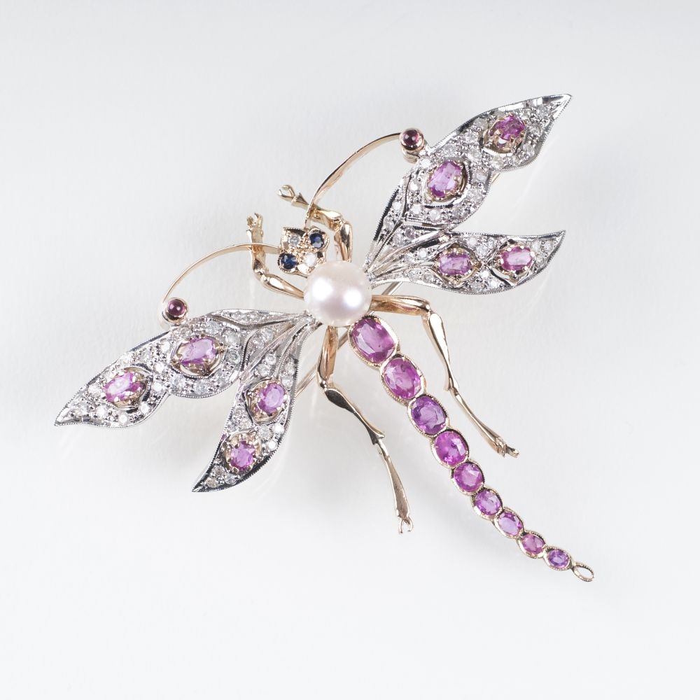 A Gemstone Insect Brooch 'Dragonfly' in Belle Epoque style