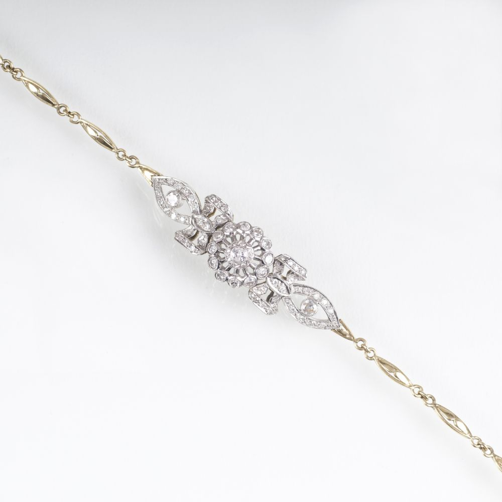 A petite Diamond Bracelet in the Manner of Art Nouveau
