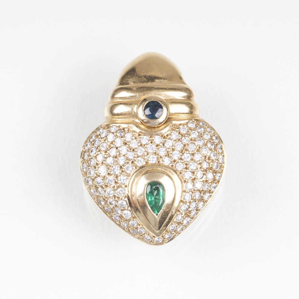 A Heart Shaped Diamond Sapphire Emerald Clip Pendant
