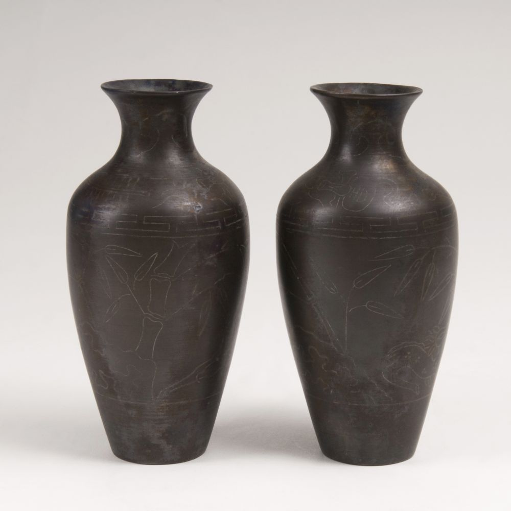 A Pair of Small Bronze Vases