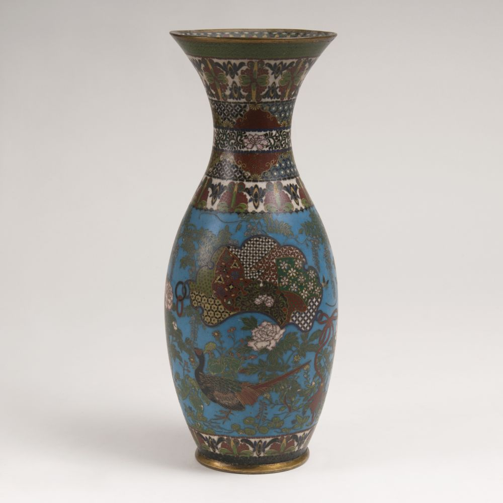 A Richly Decorated Cloisonné Baluster Vase