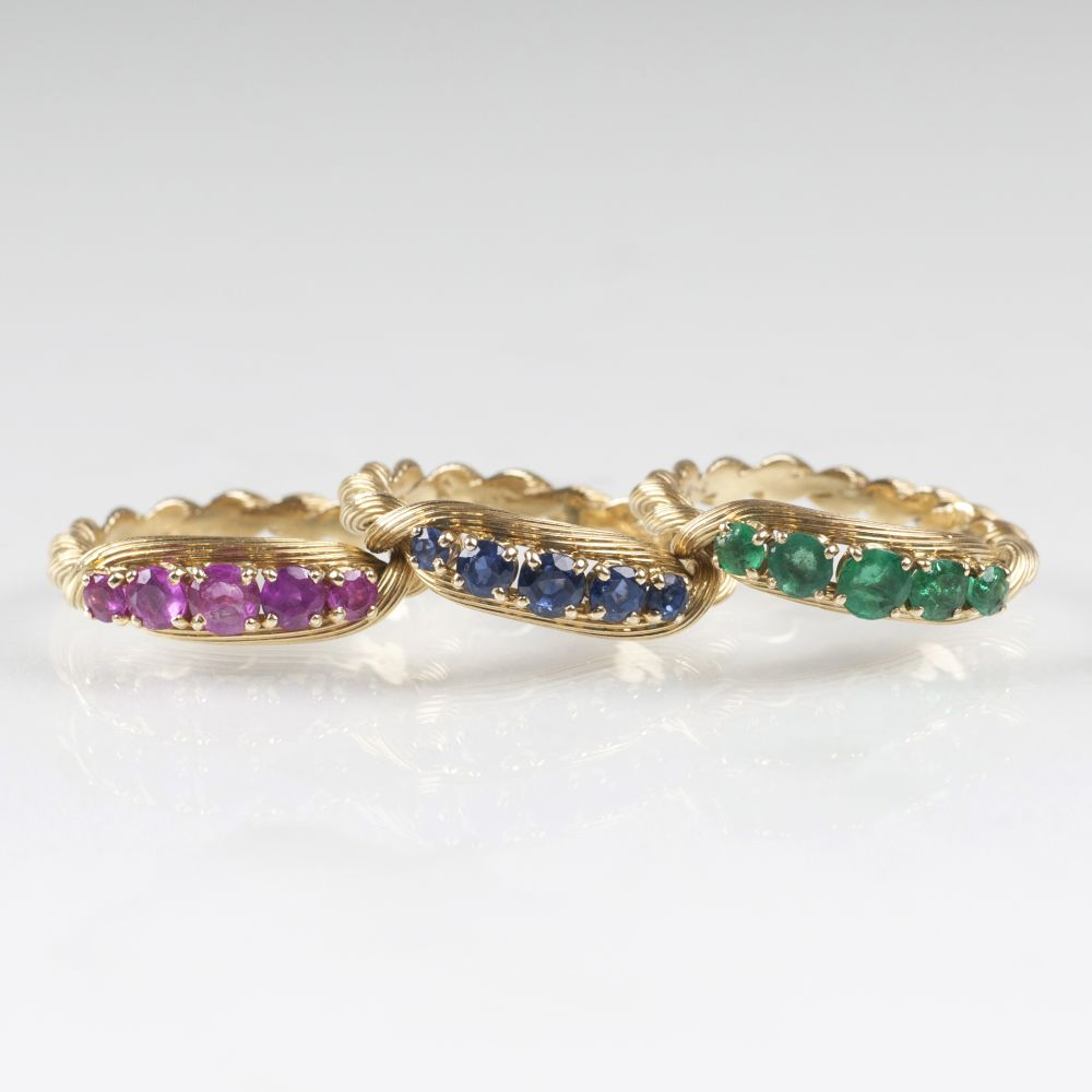 A Set of 3 Gold Rings with Rubies, Emeralds and Sapphires