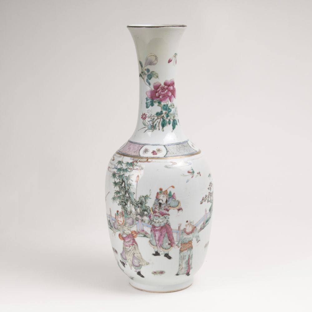 A Famille Rose Baluster Vase with Legends Scence of Mu-Guiying