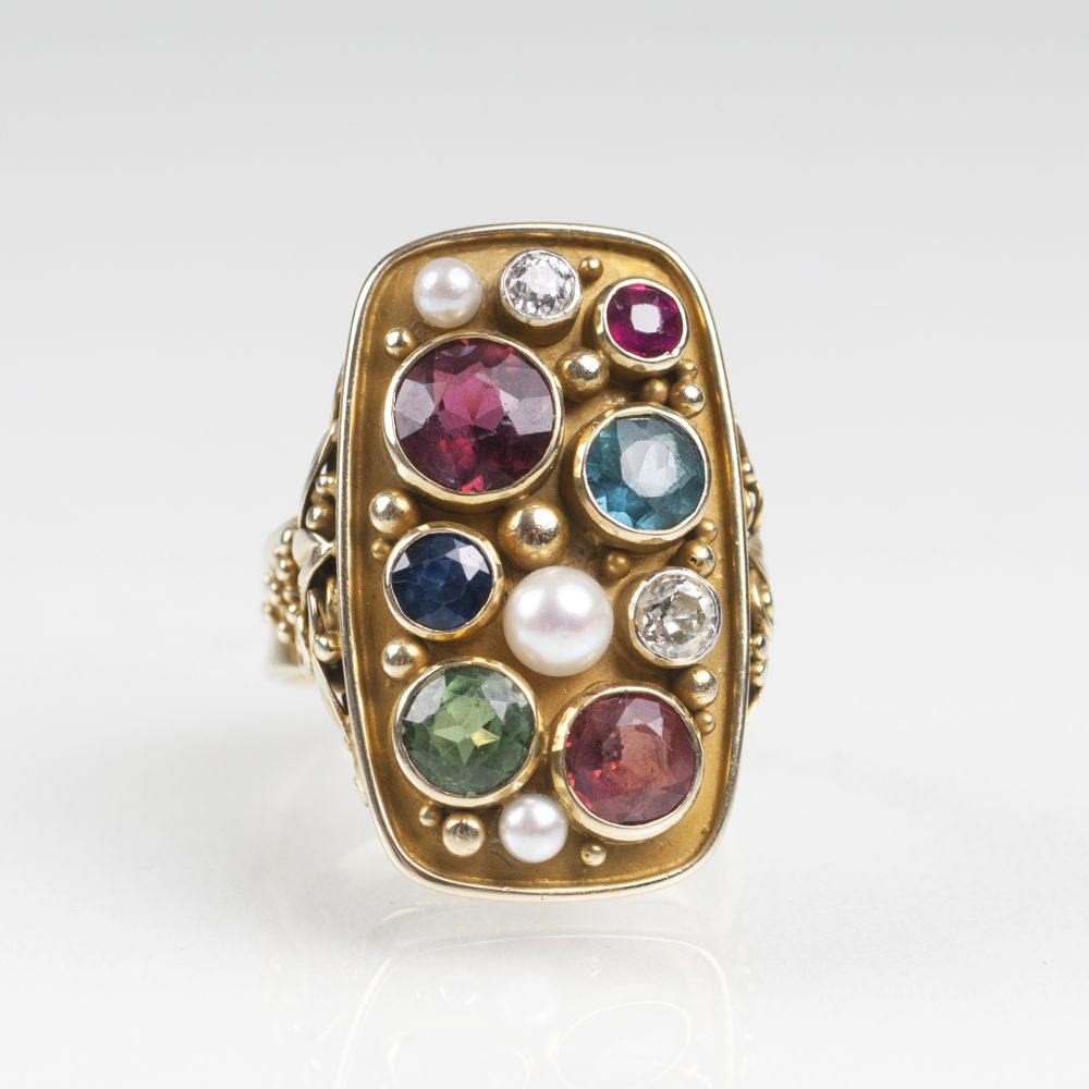 A Vintage Gold Ring with Tourmalines, Sapphire, Ruby, Pearls and Diamonds