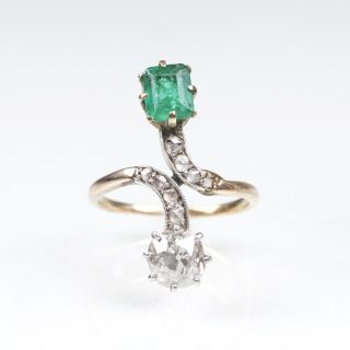 An Art Nouveau Diamond Emerald Ring