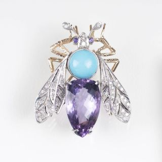 A Gemstone Insect Brooch 'Fly' in Belle Epoque style
