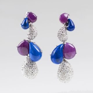 A Pair of Lapis Lazuli Ruby Earpendants with Diamonds