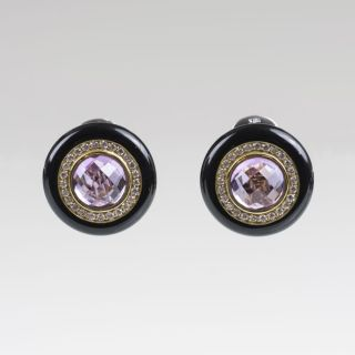 A Pair of Amethyst Diamond Onyx Earrings