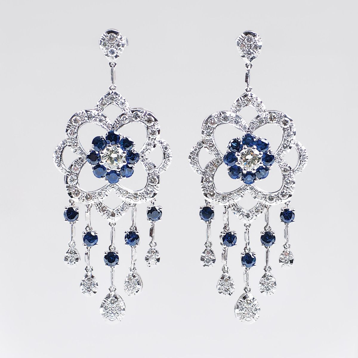 A Pair of fine Sapphire Diamond Earrings