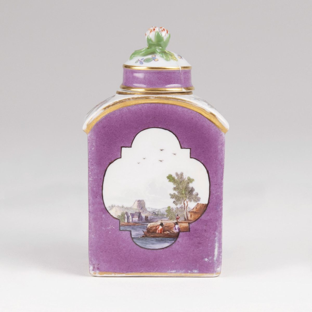 A Tea Caddy with Purple Ground and Landscape Painting